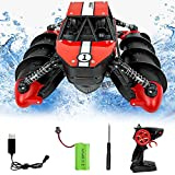 BOMPOW RC Cars Toys Remote Control Boat Amphibious Vehicle Toy RC Stunt Car Water Beach Pool Toy