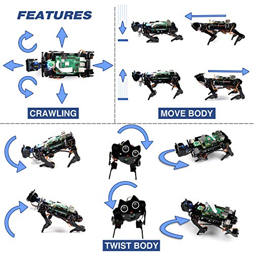 Freenove Robot Dog Kit for Raspberry Pi 4 B 3 B+ B A+, Walking, Self Balancing, Ball Tracing, Face Recognition, Live Video, Ultrasonic Ranging, Camera Servo Wireless RC