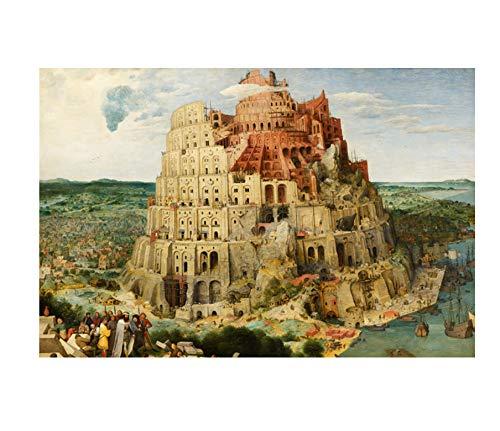 YOUCAIHUA Der Turm von Babel Puzzles für Erwachsene 1000 Teile Holzpuzzle Künstlerische Einsicht Lernspielzeug für Chlidren-Puzzles 75 * 50CM