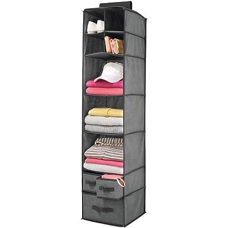 meuble de rangement id/éal pour les v/êtements mDesign /étag/ère suspendue avec 3 compartiments et 3 tiroirs gris rangement /à suspendre en tissus fibre synth/étique