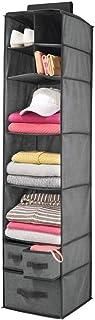 mDesign étagère de rangement à suspendre – meuble de rangement à 7 casiers et 3 tiroirs – vestiaire en tissu en polypropyl...
