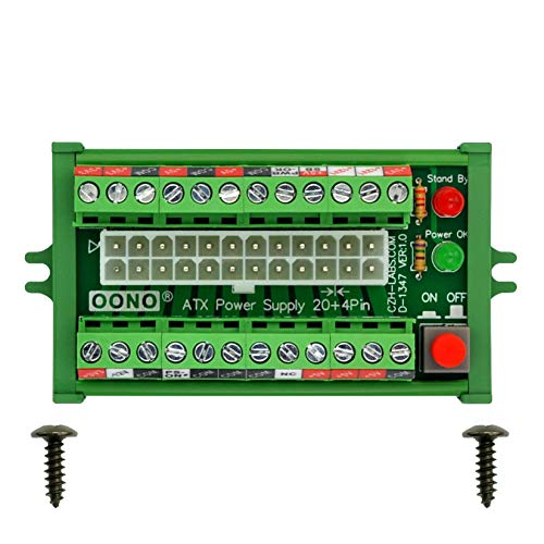 OONO 24/20-pin ATX DC Power Supply Breakout Board Module (Screw Mount)