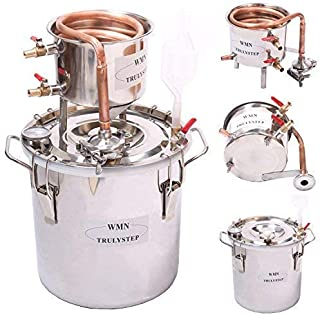 WMN_TRULYSTEP DIY 3 Gal 12 Liters Home Distiller Moonshine Alcohol Still Stainless Boiler Copper Thumper Keg …