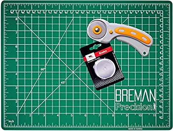 WA Portman Self Healing Cutting Mat and Rotary Cutter Sewing Kit - 9x12 Inch Cutting Mat - 45mm Rotary Fabric Cutter - 5 Extra Rotary Cutter Blades - Ideal Set for Craft Supplies