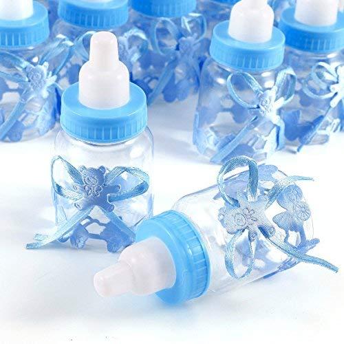 JZK 24 x Blau Baby Candy Junge Box Flasche Baby Shower Babydusche Geschenk Box Party Taufe Geschenkpaket (Blau)