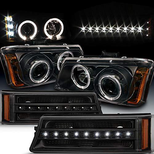 Xtune for 2003-2006 Chevy Silverado, 2003-2005 Avalanche Black Halo Projector Headlights + LED...