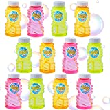Lulu Home 12 Pack Refill Bubble Solution, 4 oz Bubble Blowing Bottles with Blow Wands for Kids Graduation Party, Bath Time, Birthday Party, Refill for Bubble Machine, Bubble Gun, Bubble Blaster