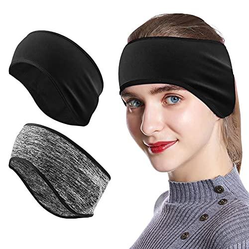 Mture Fascia per Capelli Invernale, Headband Sport 2 Pezzi Fascia Paraorecchie per Running, Sciare, Uomo, Donna (2 Pezzi)