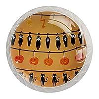 ネジ付きドレッサー引き出し用4個の白いキッチンキャビネットノブ丸い家の装飾-ハロウィーンのカボチャ猫