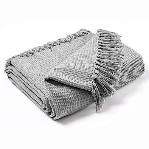 EHC Waffle Cotton Woven King Size Sofa Throw 3 Seater Sofa/Chair/Double Bed, 228 x 254 cm, Smoke