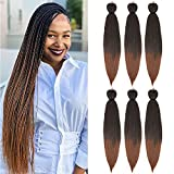 Braiding Hair Pre Stretched 24 Inch Synthetic Fiber Ombre Braiding Hair for Making Long Crochet Box...
