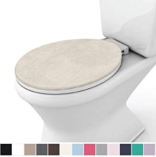 Gorilla Grip Original Thick Memory Foam Bath Rug Toilet Lid Seat Cover, 19.5 Inch x 18.5 Inch Size, Machine Washable, Plush Fabric Covers, Fits Most Size Toilet Lids for Kids Bathroom, Ivory Cream
