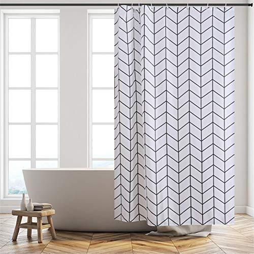 Furlinic Duschvorhang Textil Anti-schimmel Wasserdicht Waschbar Badvorhang aus Polyester Stoff 120x200cm Fischgrätenmuster mit 8 Duschvorhangringen.