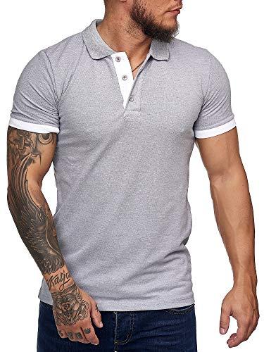 OneRedox Herren Poloshirt Polohemd Basic Kurzarm Einfarbig Slim Fit Polo Shirt Baumwolle T-Shirt Polokragen M-XXXL Modell 1402 Grau L