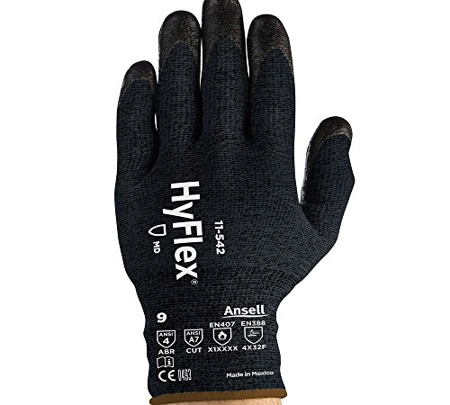 Ansell 11-542-8 Cut Resistant Gloves (826635) - Size 8, Black (1 Pair)