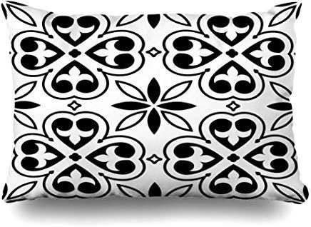Funda de cojín con diseño de azulejos españoles marroquíes, diagonales, abstracto, blanco arabesco, de cerámica, 40 x 60 cm, para decoración del hogar, sofá, funda de almohada, regalo de Navidad o cumpleaños