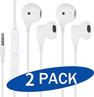 (2 Pack) Wired Earphones Stereo Sound in-Ear Earbuds with 3.5mm Headphones Plug Microphone Volume Control for Sports Workout Compatible with Cell Phones Tablets Laptops