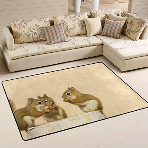 TIZORAX baby eekhoorns delen zonnebloemen zaden op berk log gebied tapijt tapijten anti-slip vloer mat deurmatten voor woonkamer slaapkamer 36 x 24 inch