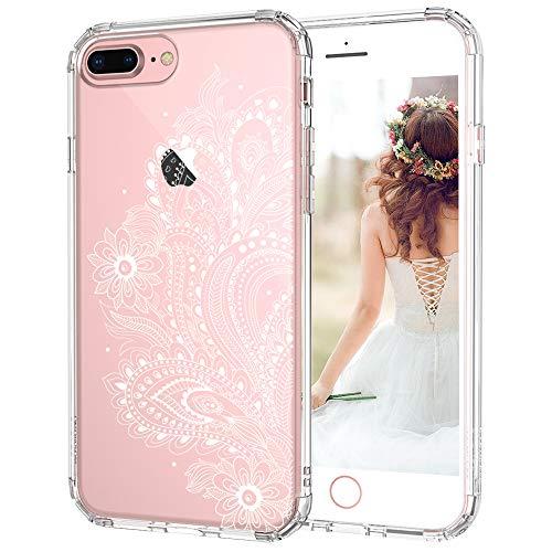 MOSNOVO iPhone 8 Plus Hülle, iPhone 7 Plus Hülle, Paisley Henna Blumen Weiß Muster TPU Rahmen mit Hart Plastik Hülle Durchsichtig Schutzhülle für iPhone 7 Plus/iPhone 8 Plus (Paisley Floral)