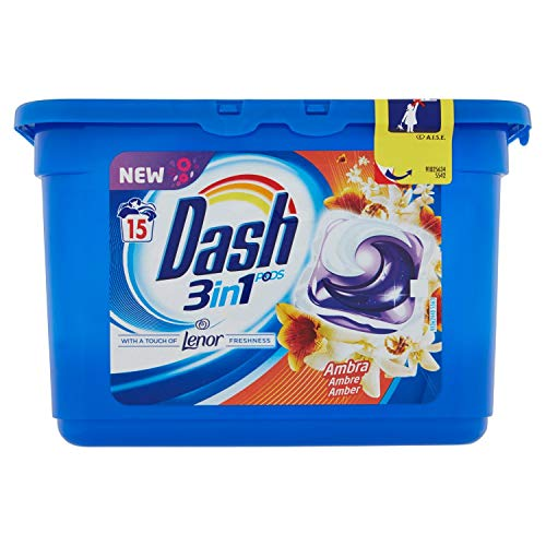 Dash Pods Allin1 Tocco di Lenor, Pods per Bucato, 15 Lavaggi, Pulizia a Basse Temperature di 30 °C e Profumo Duraturo