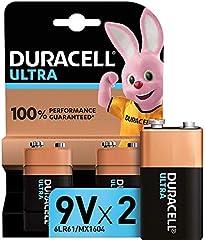 Duracell - Ultra 9V con Powercheck, Batteria Alcalina, confezione da 2, 1.5 volt 6LR61 MX1604 adatto per rilevatore di fumo