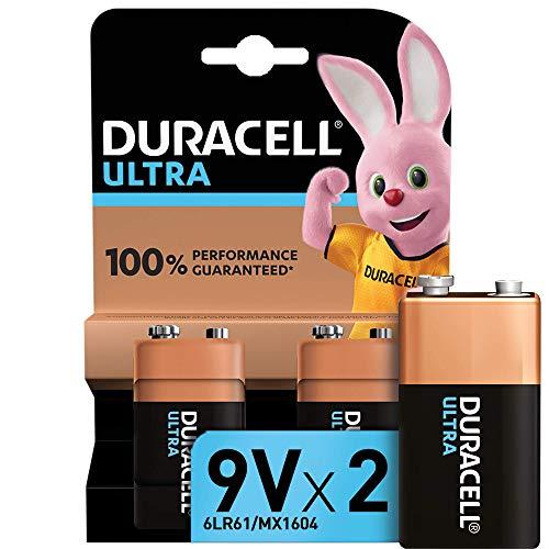 Duracell - Ultra 9V con Powercheck, Batteria Alcalina, confezione da 2, 1.5 volt 6LR61 MX1604 ideale per rilevatore di fumo