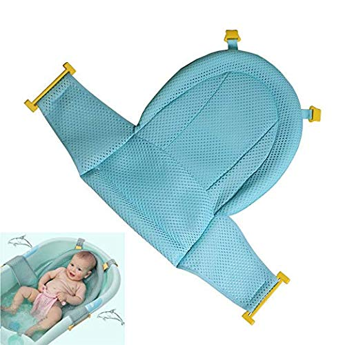 Baby Bath Support Seat, Newborn Shower Mesh for Bathtub, 2019 New Style Adjustable Comfortable Non-Slip Bath Seat for Infant 0-3 Years (Green)