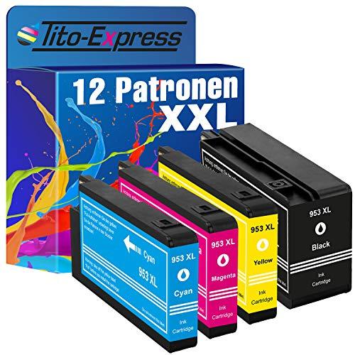 Tito-Express PlatinumSerie 12er Tinten-Patronen XXL als Ersatz für HP-953XL für HP OfficeJet Pro 7700 Series 7720 7730 7740 WF 8200 Series 8210 8216 8218 8710 8715 8718 8719