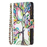 Blllue Wallet Coque Compatible with LG K51, [Zipper Pocket] Colored Drawing PU Leather Cover with 9...