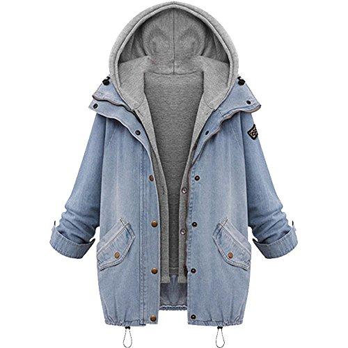 Lulupi Damen Jeansjacke Große Größe Kapuzenjacke 2 in 1 Kurzjacke Denim Winterjacke Casual Strickjacke Weste Jeans Jacket Knopfverschluss Hooded Mäntel Outwear