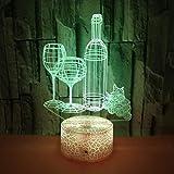 Control Táctil Y Control Remoto 3D Led 16 Colores Lámpara De Mesa Copa De Vino Botella Set Ilusión Luz Nocturna Base De Grieta Lámpara De Ambiente Acrílico Decoración Para El Hogar