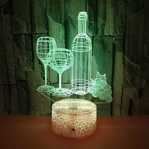 Touch Control Und Fernbedienung 3D Led 16 Farben Tischlampe Wein Tasse Flasche Set Illusion Nachtlicht Riss Basis Acryl Atmosphäre Lampe Home Decration