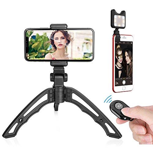 Apexel Universal Mini Tripod Handgrip Stabilizzatore per iPhone XS/S 8 / 8Plus 7 / 7Plus Samsung S9 S8 S7 Most Smartphone SLR, DLSR GoPro e Fotocamere digitali