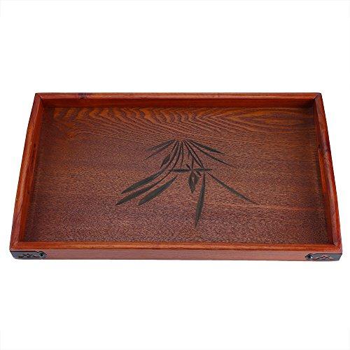 Serviertablett aus Holz aus Massivholz rechteckig Serviertablett für Wasser Getränke Frühstück Tee Serviertablett mit Griff