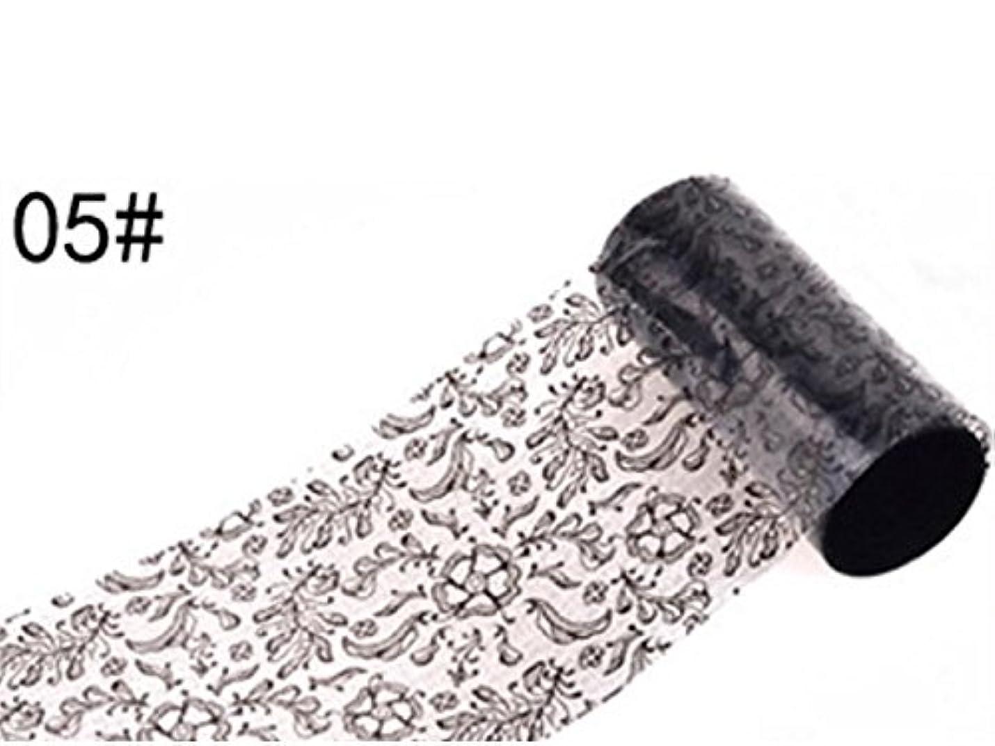 起きろ決して特にOsize ブラックレースのデザインネイルアートステッカーデカールネイルチップのデコレーションブラックレースの花転写箔ネイルアートセクシーなデザインのステッカー(ブラック)