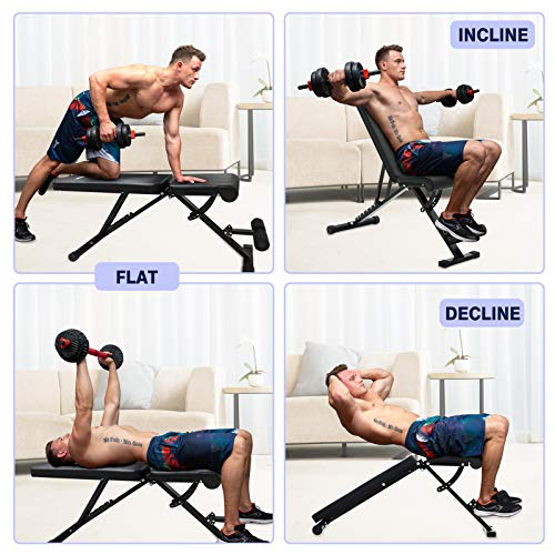 KLL Adjustable Weight Bench, Foldable Strength Training Bench for Full Body Workout, Multi-Purpose Fitness Bench Incline Decline Press Bench for Home Gym