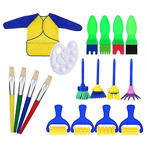 18-teiliges Mal-Lernset für Kinder, frühes Lernen für Kinder, Schwamm, Zeichnen, Pinsel-Set mit Schürze und Palette, Do-it-yourself Malutensilien.