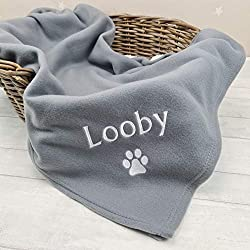 PERSONALISED PET BLANKET. Supersoft Fleece Blanket. Beautifully Embroided with your pets name. LARGE DOG BLANKET: Dimensions 120cm x 150cm suitable for all pets large or small. IDEAL PET BLANKET. IPerfect for use in baskets, cars, sofa or outdoors PE...