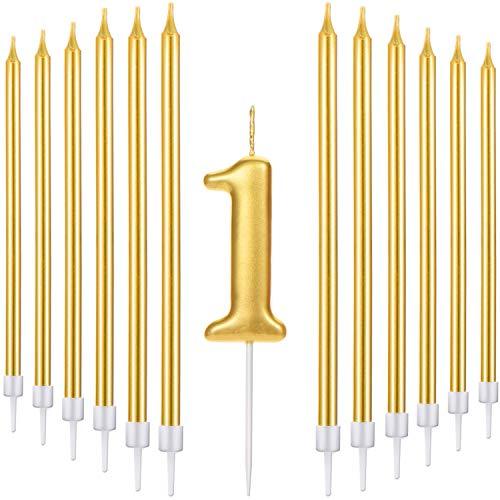 Conjunto de 21 Velas de Tarta de Feliz Cumpleaños Incluye Vela de Número Metálicas, 20 Velas de Cumpleaños Largas Doradas para Boda Cumpleaños Aniversario (Número 1)