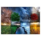 DIY 5D Diamond Painting by Number Kits, Weather Scenery Tree Crystal Rhinestone Canvas Diamond Embroidery Paintings for Home Wall Decor, 12 x 16 inch, Full Drill