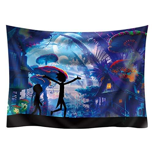 N / A Cartoon Rick und Morty Wandteppich Wandbehang Polyester Stoff Wandteppich Teppich Neue kreative Hintergrunddecke 200X150cm Schlafzimmer Dekoration großes Geschenk für Kinder M3 150x130cm