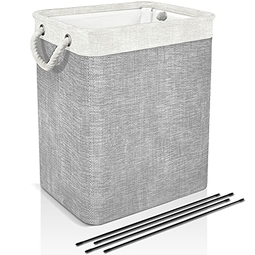 DYD Laundry Basket with Handles & Brackets 65L/78L Small/Large/Tall Hamper for Kid Girl Collapsible Washing Bin Built-in Lining for Bedroom Dorm Toy Clothing Storage