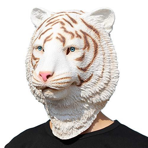 PartyCostume - Tigre Blanco - Latex Mascara De Halloween
