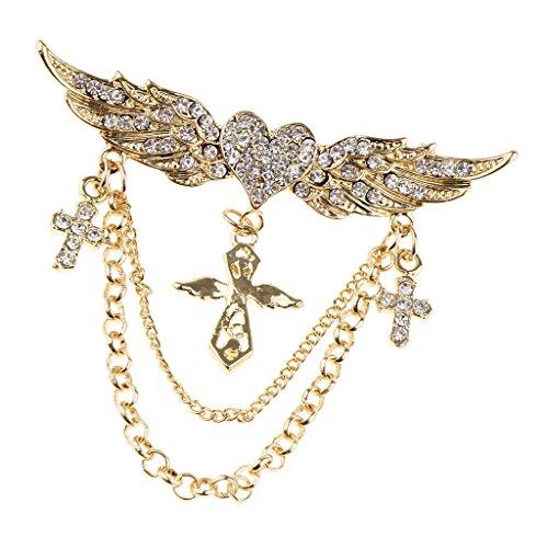 Baoblaze Stunning Crystal Rhinestone Angel Wings Heart Chain Brooch Collar Pin Cross - Gold
