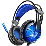 ABKONCORE B581 USB Gaming Headset with 7.1 Surround Sound - PC Headset with Noise-Cancelling Mic, On-Ear Volume & Mute Controls, LED Light - Comfort to Wear Headphone for WFH PC, Laptop