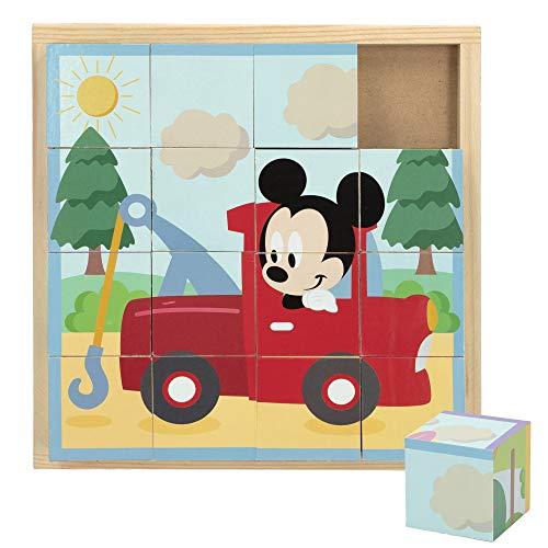 Disney - Puzzle niños 3 años 16 cubos Puzzle infantil niños niñas Puzzles juguetes educativos Primera infancia Puzzle 4 en 1 Rompecabezas Puzzle Disney Cubos 20x20 cm