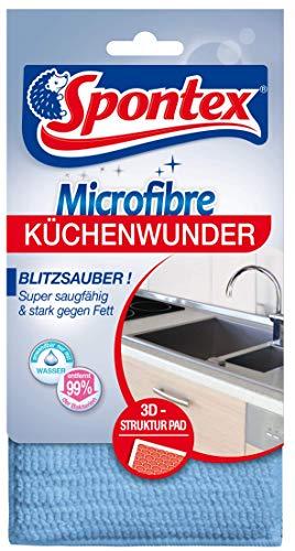 Spontex Microfibre Küchenwunder, 3D Mikrofaser-Pad mit Schwammkern, ideal für alle Küchenoberflächen, effizient gegen Schmutz und Fettrückstände, 1 Stück