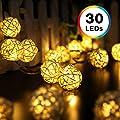 Rattan Ball String Lights, Decornova 19.7 feet 30 LEDs Rattan Ball LED Party String Lights for Patio with 3AA Battery Box, 2 Modes, Warm White