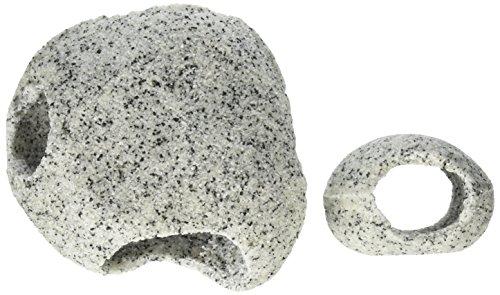 Penn-Plax Deco-Replicas Granite Aquarium Ornament & Hideaway 2 Piece Set – Realistic Stone Appearance – Safe for Freshwater and Saltwater Tanks – Small & Medium