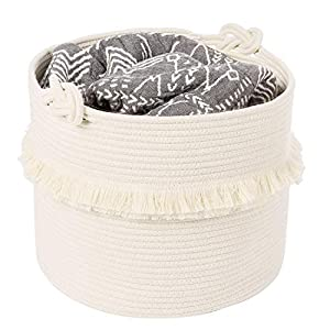 crib bedding and baby bedding cherrynow large woven storage baskets – 16'' x 13'' cotton rope decorative hamper for nursery, toys, blankets, and laundry, cute tassel nursery decor - home storage container